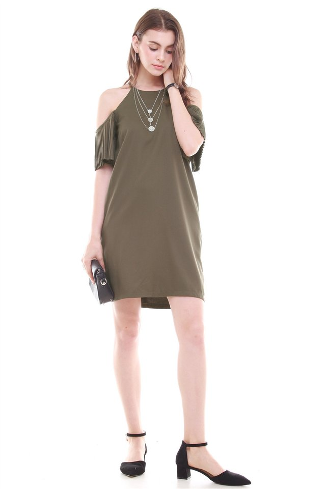 *BACK IN STOCK* Cold Shoulder Flutter Sleeve Shift Dress in Olive