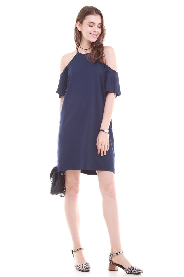 *BACK IN STOCK* Cold Shoulder Flutter Sleeve Shift Dress in Navy