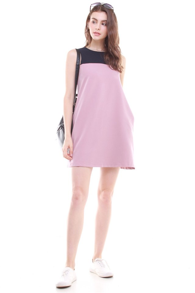 *BACK IN STOCK* ACW Colourblock Pocket Trapeze Dress in Mauve