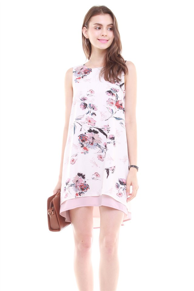 Reversible Printed Trapeze Dress in Floral (M/L)