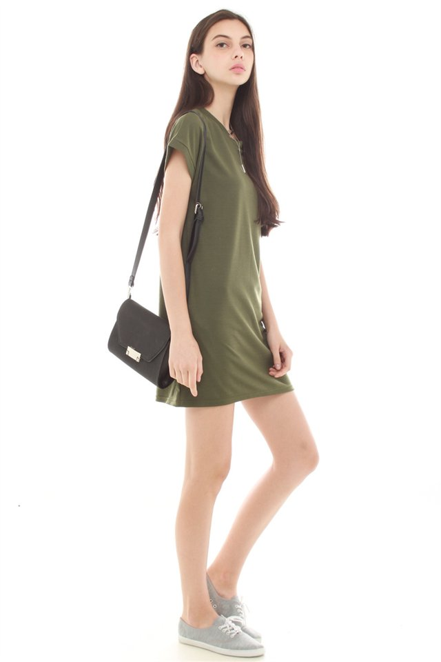 *BACK IN STOCK* ACW Structured Pocket Tee Dress in Olive