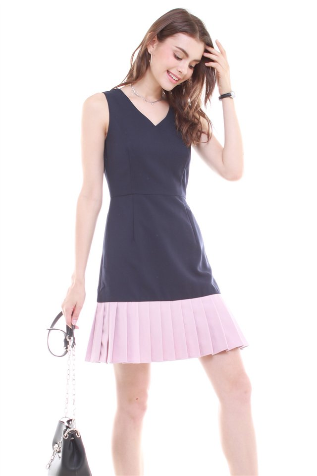 Pleated Hemline Fit and Flare Dress in Navy-Blush