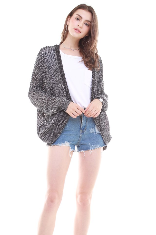 Oversized Slouchy Knit Cardigan in Dark Grey