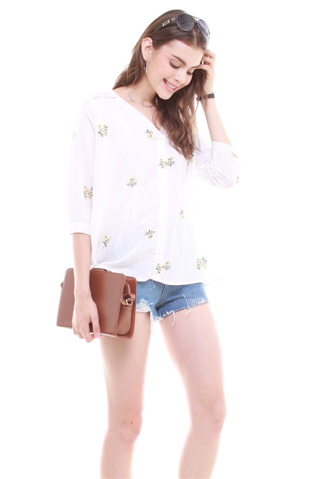 *Backorder* Embroidery Slouchy Shirt