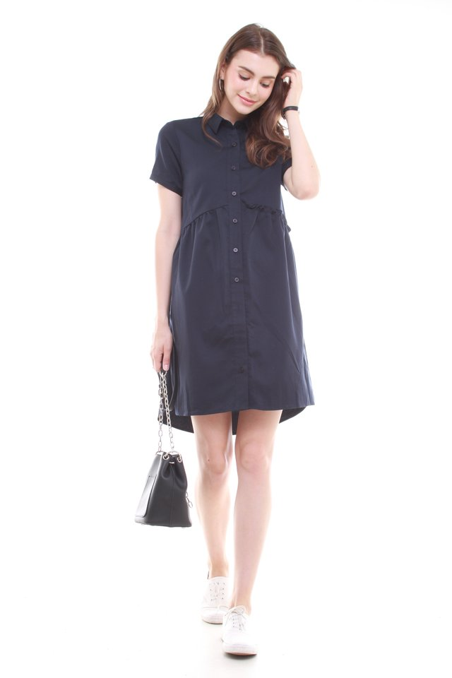 Button Down Frill Shirt Dress in Navy