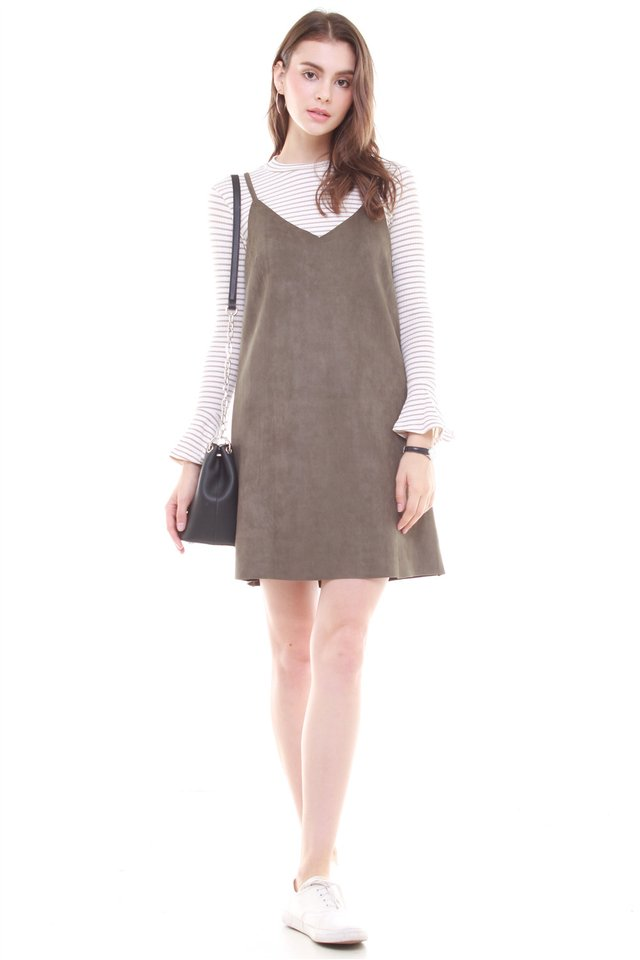 Two Piece Striped Suede Dress in Olive