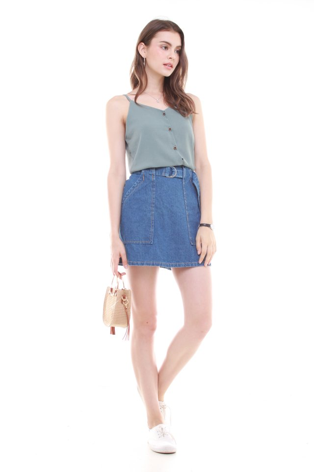 Button Down Cami Top in Turquoise