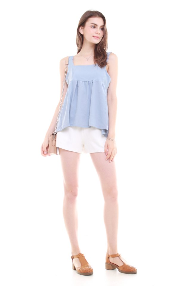 Babydoll Flounce Top in Ash Blue