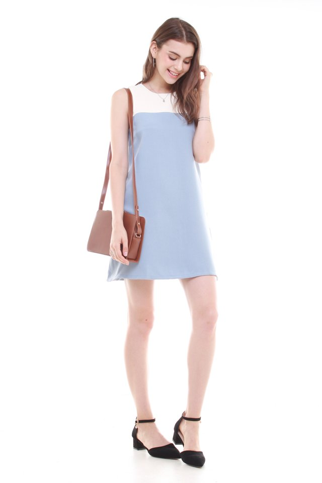 *BACK IN STOCK* ACW Colourblock Pocket Trapeze Dress in Ash Blue