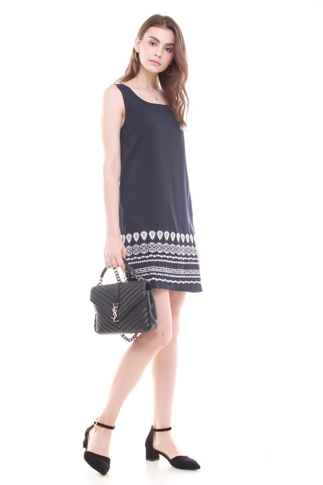 Embroidery Shift Dress in Navy