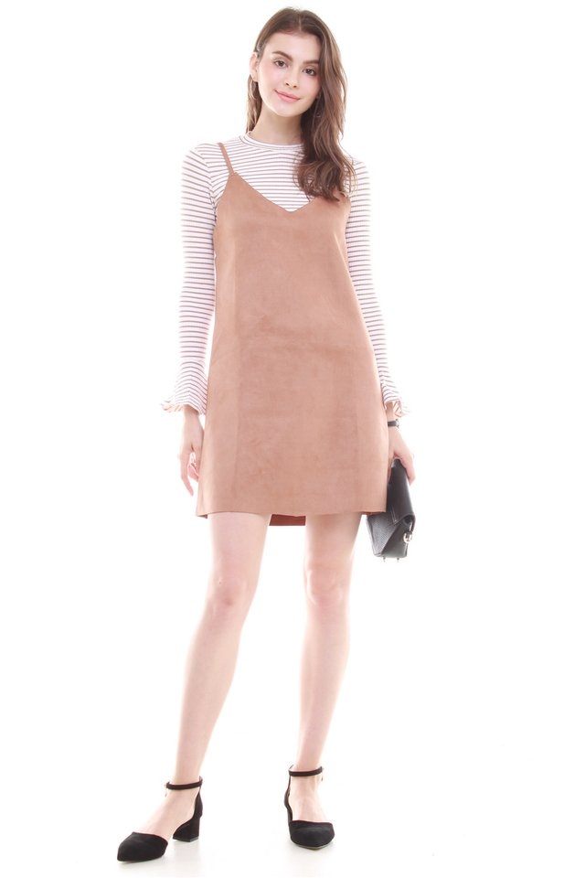 *BACK IN STOCK* Two Piece Striped Suede Dress in Camel