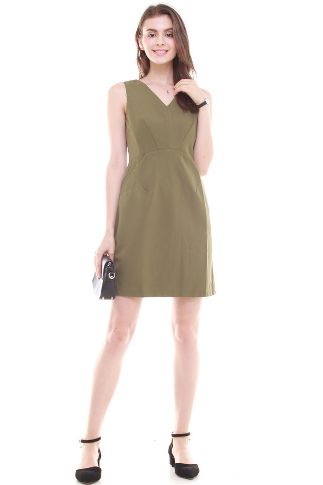 Crescent Pocket Work Dress in Olive