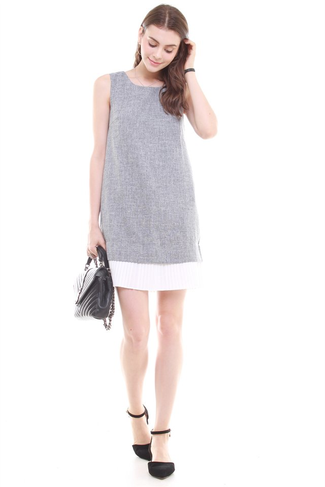 *BACK IN STOCK* Sleeveless Pleated Hem Tweed Shift Dress in Grey