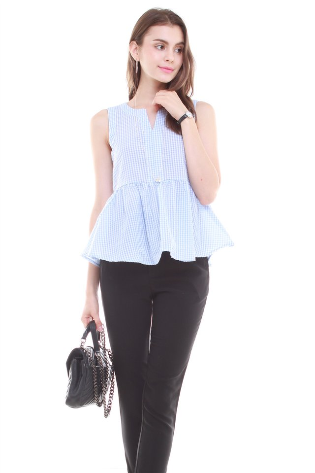 *BACK IN STOCK* ACW Gingham Peplum Top in Sky