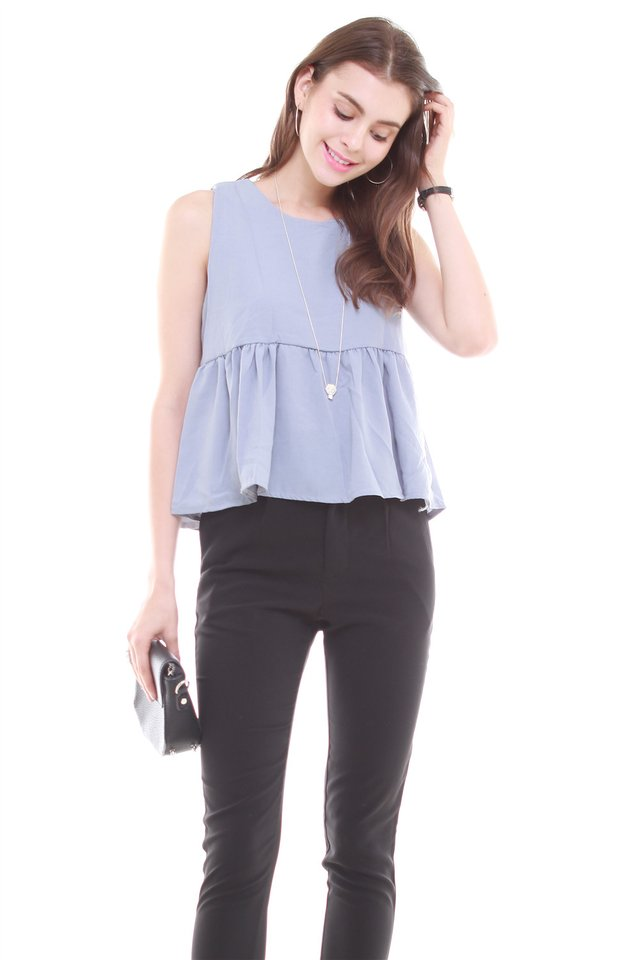 Babydoll Flare Top in Ash Blue