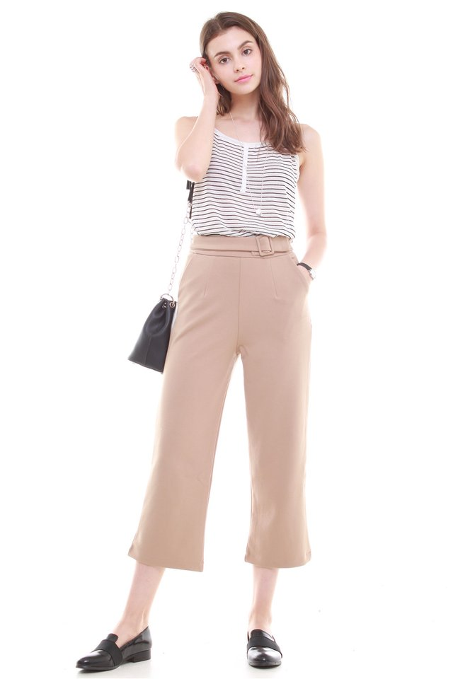 Belted Straight Cut Cropped Trousers in Khaki