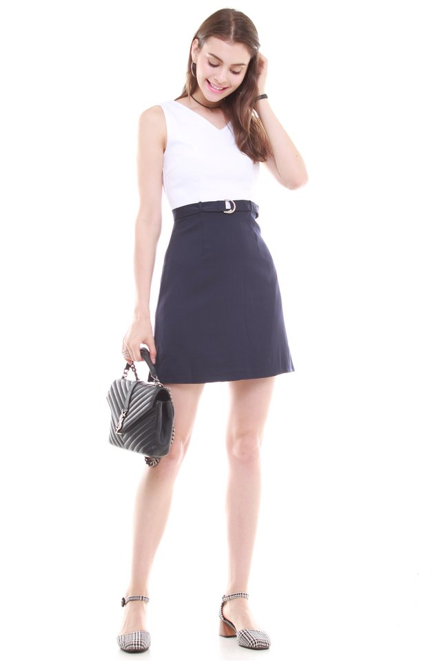 Belted Colourblock Work Dress in White-Navy