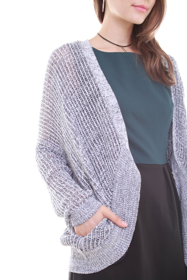 Oversized Slouchy Knit Cardigan in Light Grey