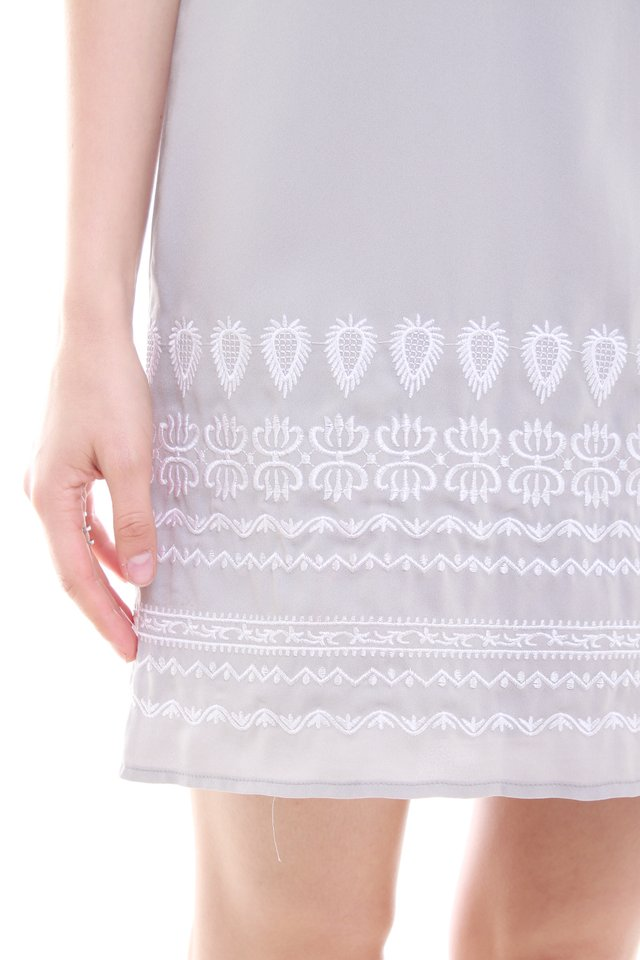 Embroidery Shift Dress in Dusty Grey