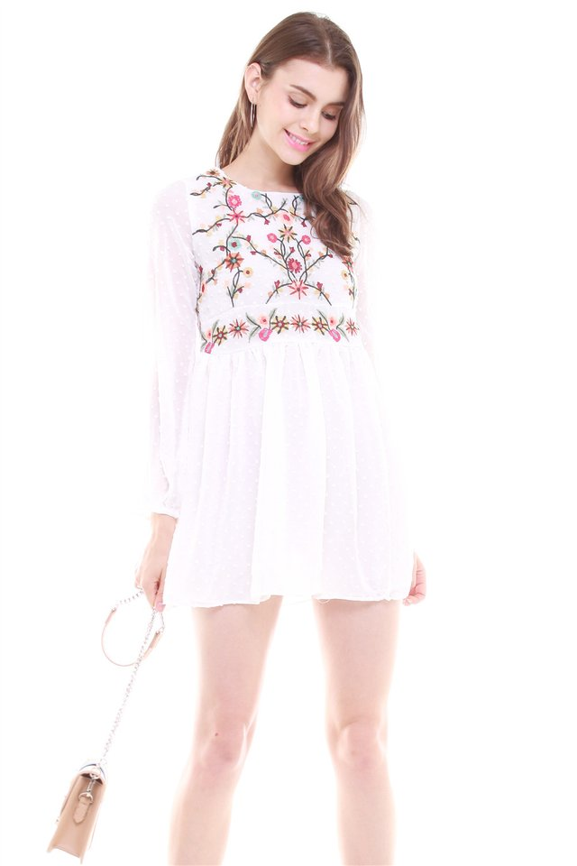 *Backorder* Embroidery Long Sleeve Babydoll Dress in White