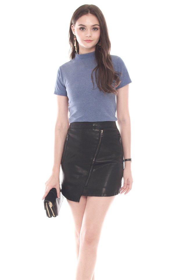 High Neck Basic Mod Sleeved Top in Denim Blue