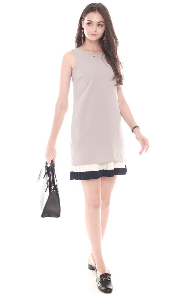 Double Pleat Colourblock Shift Dress in Grey-Navy