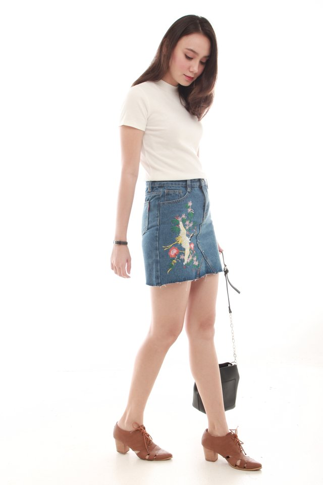 Embroidered Denim Skirt in Mid Wash