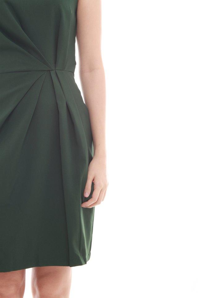 Waist Gathered Work Dress in Emerald