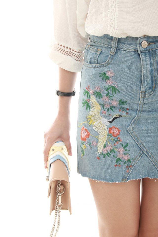 Embroidered Denim Skirt in Light Wash