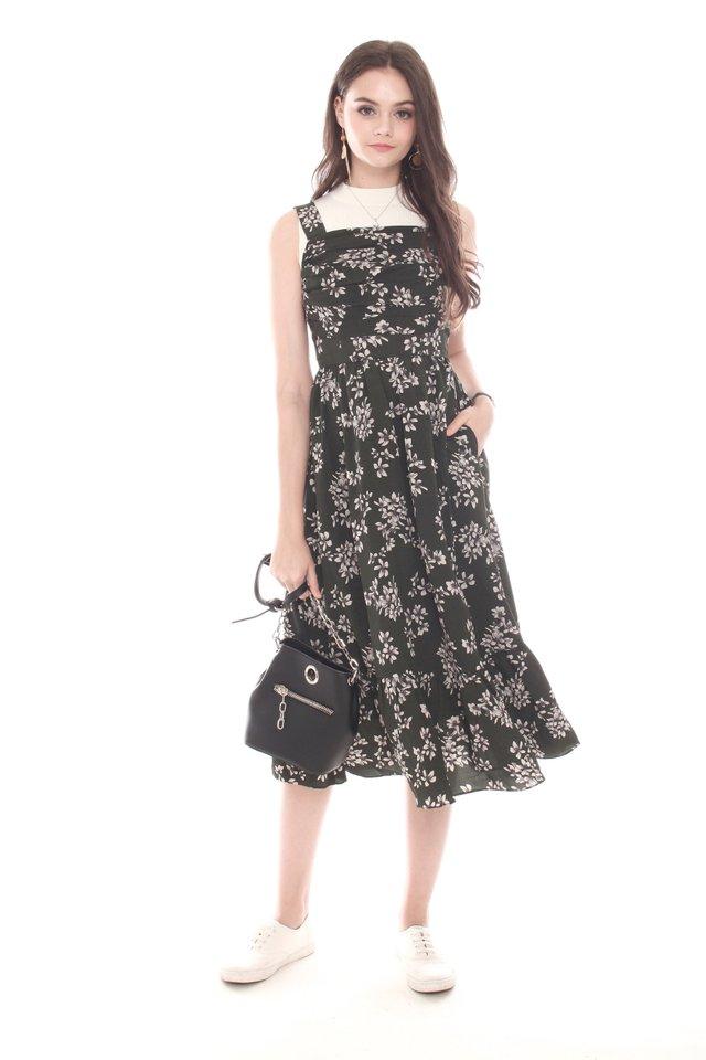 Ruched Front Midi Twirl Dress in Garden Florals
