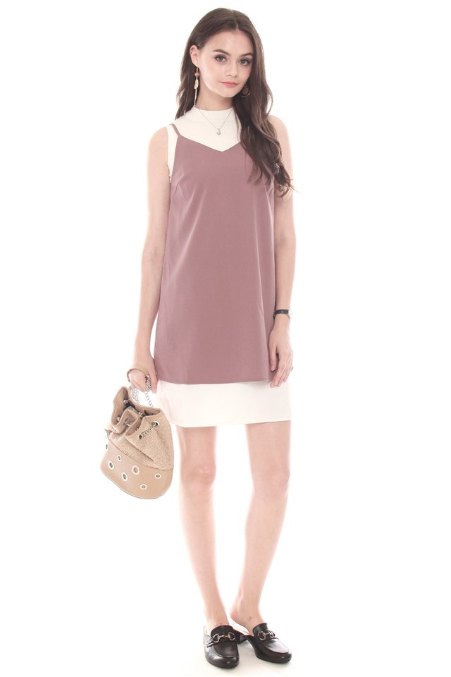Double Layered Cami Dress in Mauve