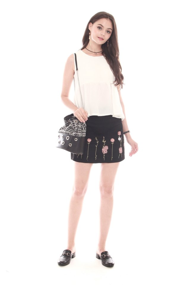 Embroidered Pink Roses Suede Skirt in Black