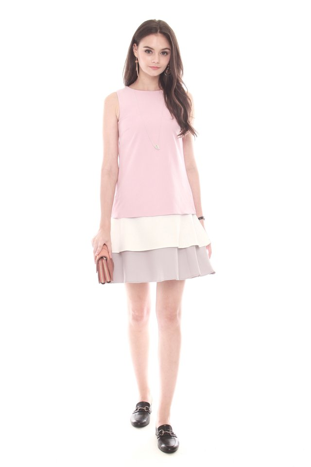 Triple Layered Dress in Dusty Pink