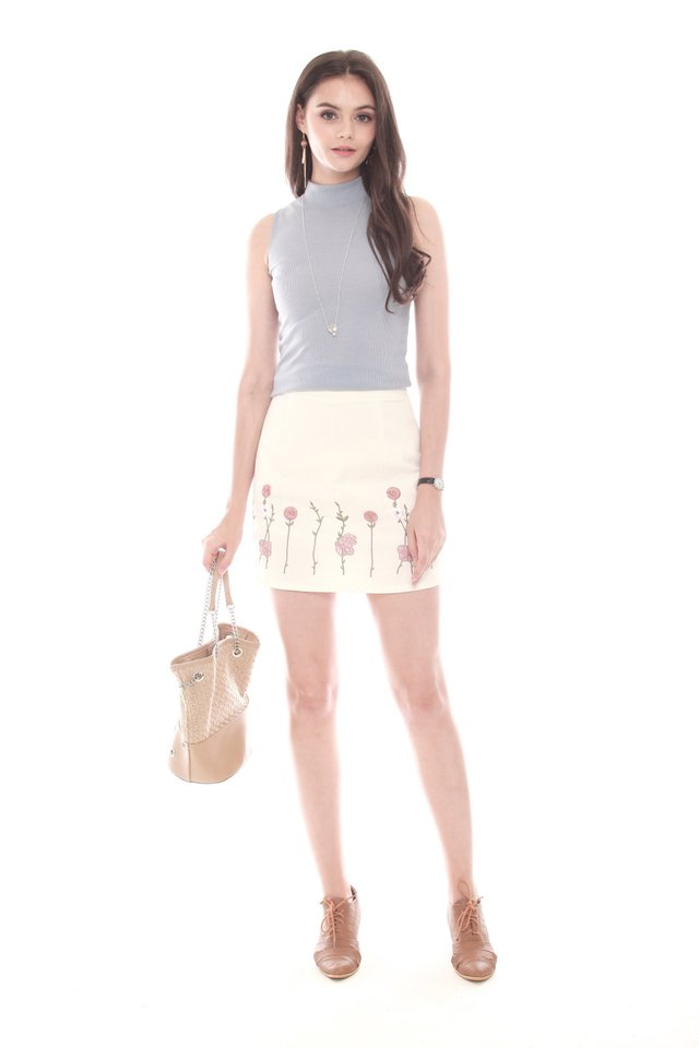 Embroidered Pink Roses Suede Skirt in White