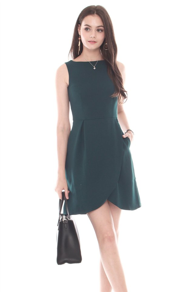 Curved Front Flare Dress in Emerald