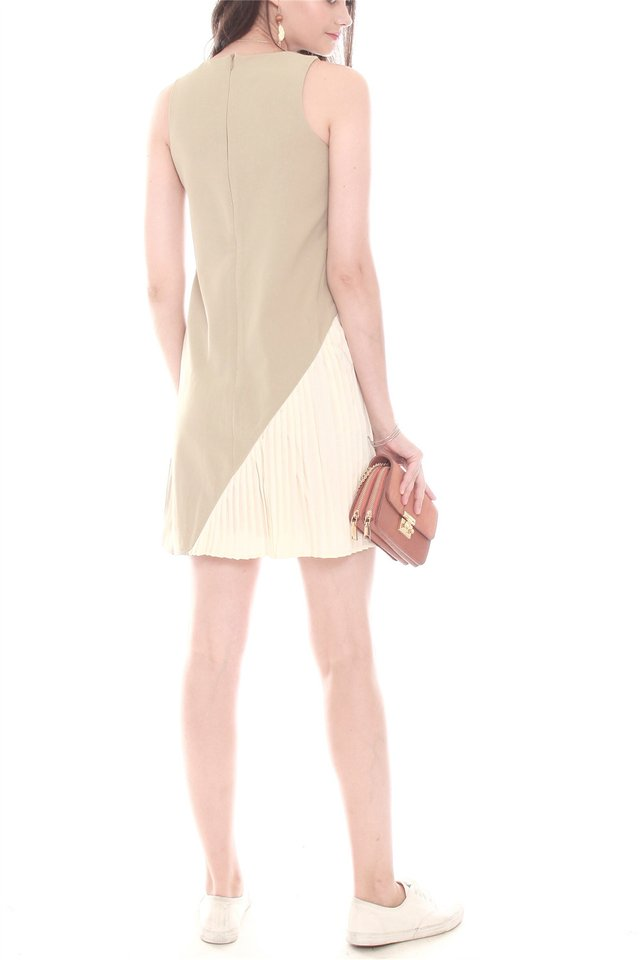 Asymmetrical Pleat Shift Dress in Matcha