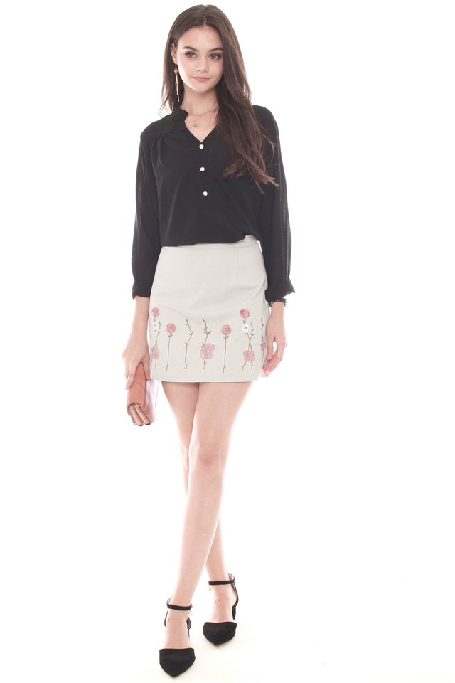 Embroidered Pink Roses Suede Skirt in Dusty Grey