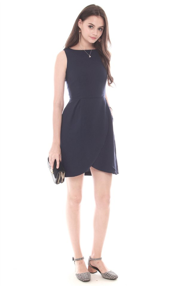Curved Front Flare Dress in Navy