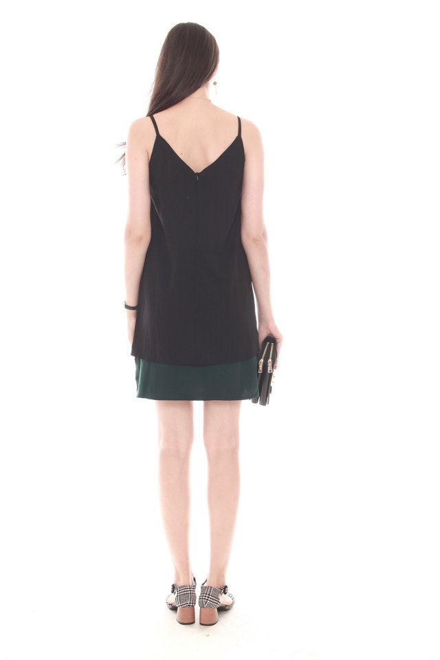 Double Layered Cami Dress in Black