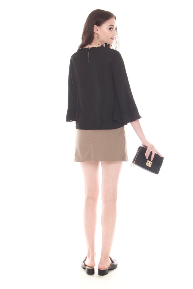 Frill Sleeve Work Blouse in Black