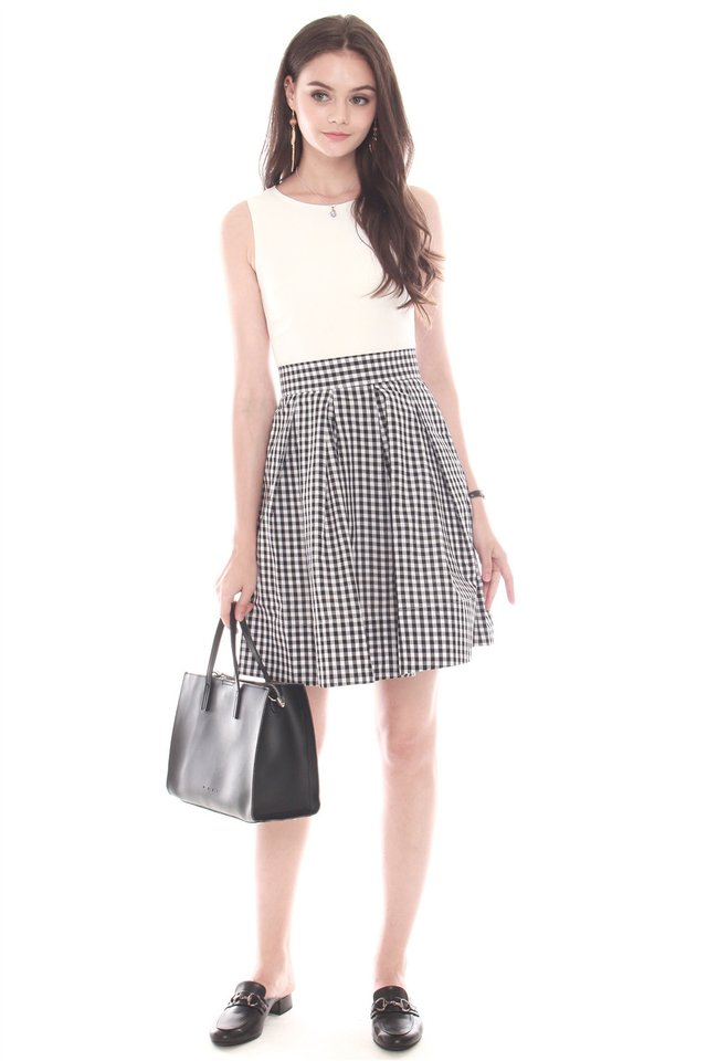 Two Tone Pleated Work Dress in Gingham