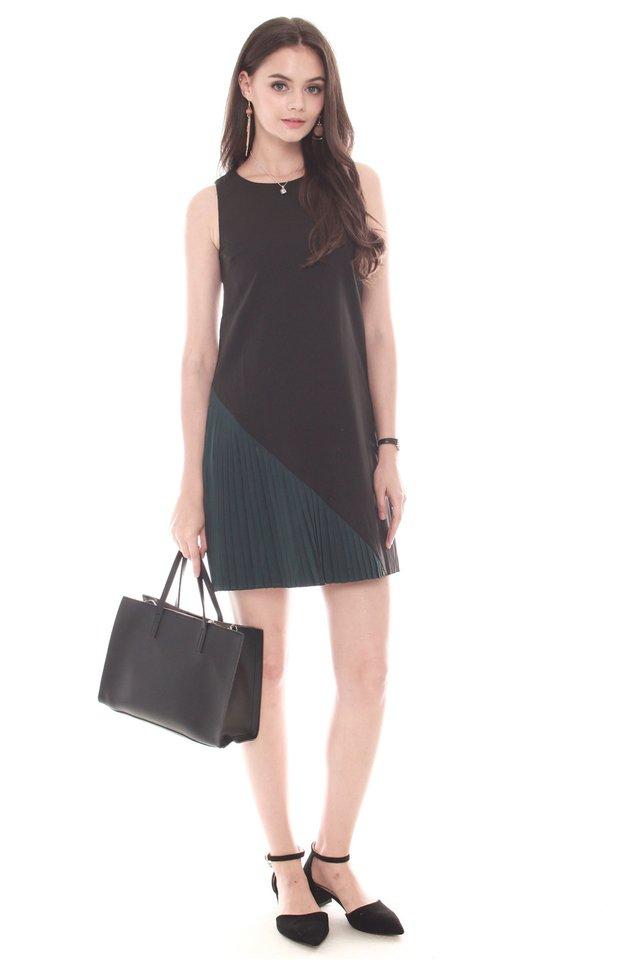 Asymmetrical Pleat Shift Dress in Black