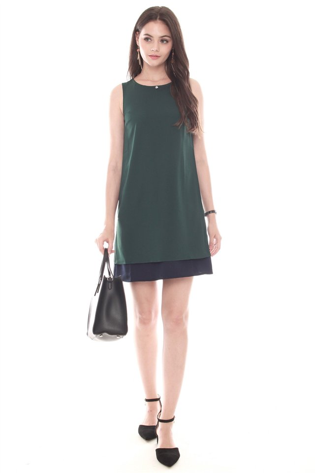 Reversible Two Tone Shift Dress in Emerald-Navy