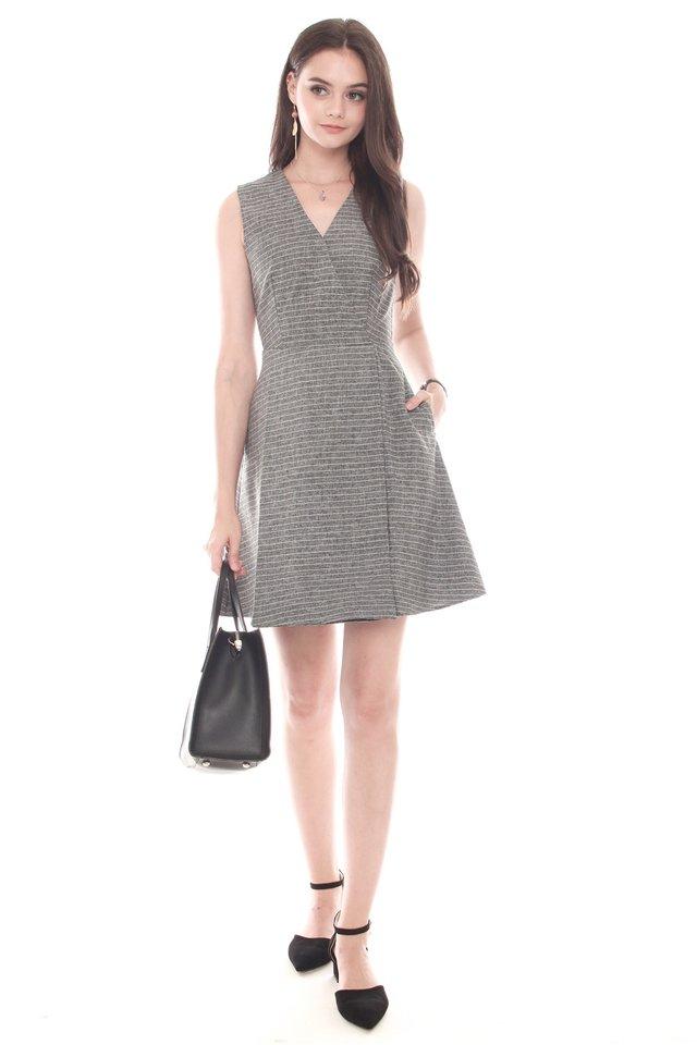 Overlap Preppy Stripe Dress in Suit Grey