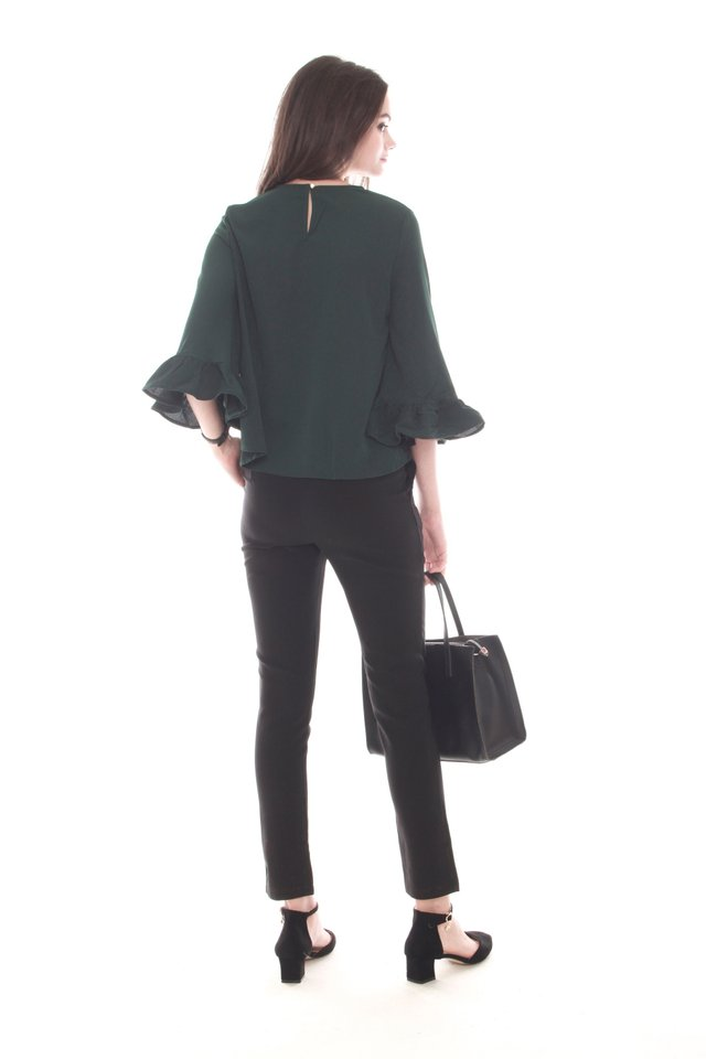 Frill Sleeve Work Blouse in Emerald