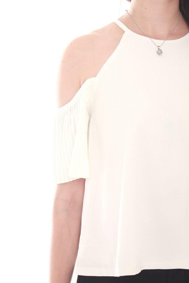 Cold Shoulder Flutter Sleeve Top in White