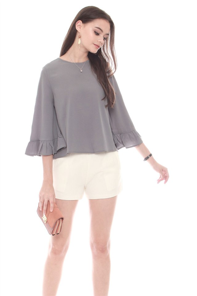 Frill Sleeve Work Blouse in Grey