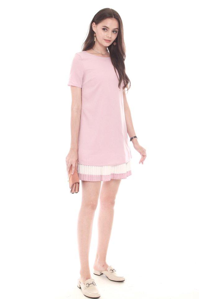 Sleeved Double Pleat Colourblock Shift Dress in Dusty Pink