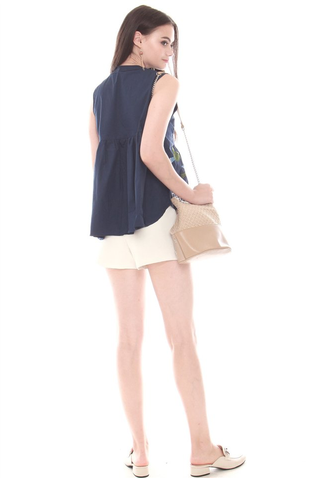 Blue Bell Embroidery Button Down Babydoll Top in Navy