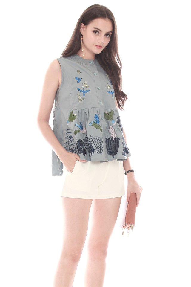 Blue Bell Embroidery Button Down Babydoll Top in Ash Blue